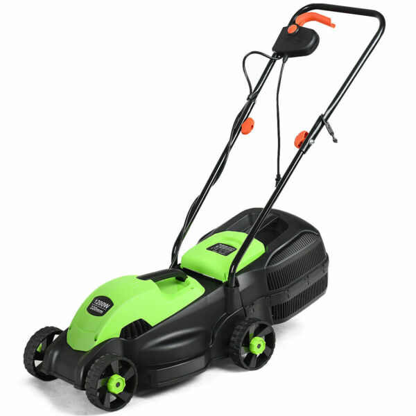 12 Amp 14-Inch Electric Push Lawn Corded Mower With Grass Bag Green