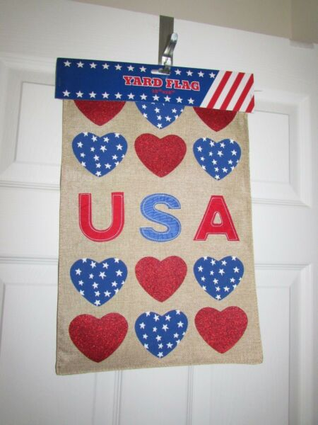 Love USA Patriotic Hearts Burlap Small Garden Flag 12.5quot;X18quot; Two Sides
