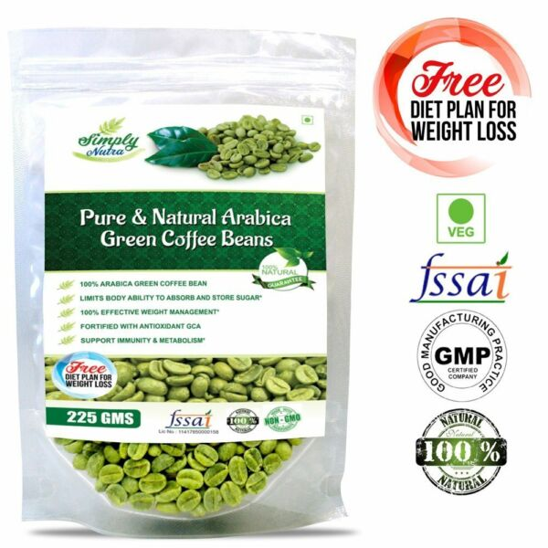 Simply Nutra Green Coffee Beans for weight loss 225gm Unroasted Arabica Grade
