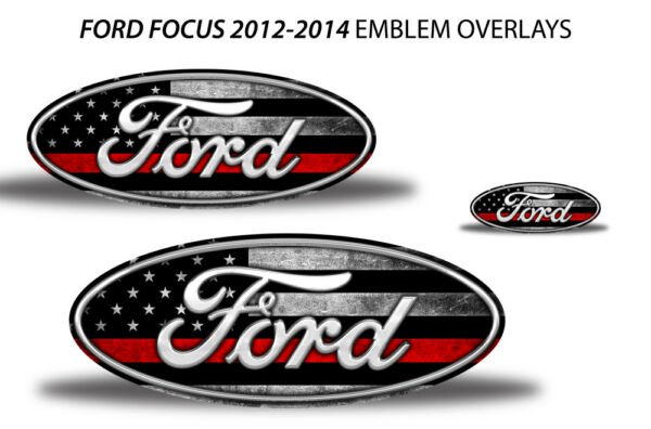 Oval Badge Emblem Logo Overlay Sticker Decals For Ford Focus 2012-2014 RED LINE