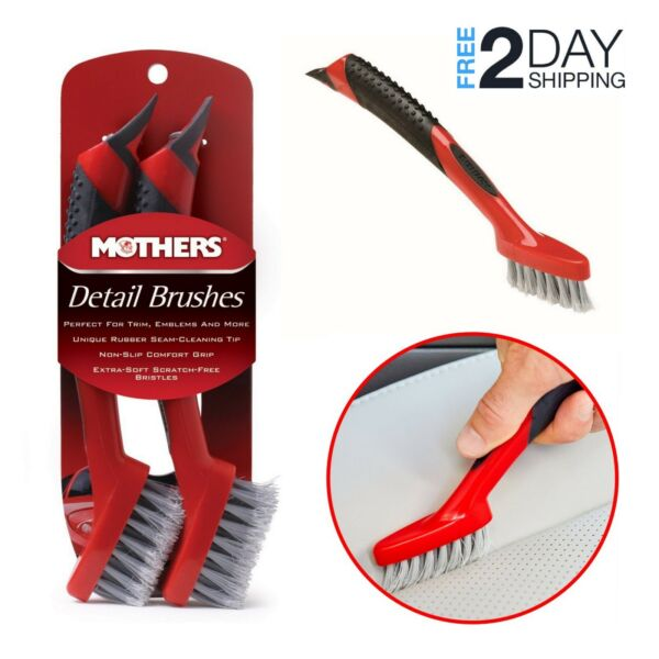 2 Pcs Car Interior Detailing Brush Set Soft Bristle Auto Wheel Detail Cleaning