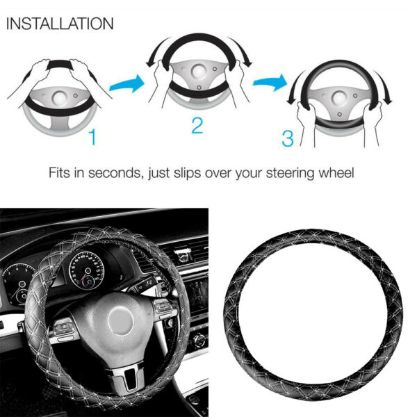1x 14'' 15'' Car Faux Leather Steering Wheel Cover Black&White Universal SUV Kit