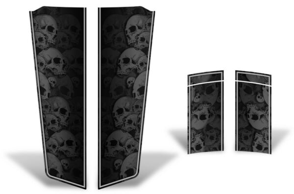 Chevy Camaro Hood & Trunk Race Stripes Graphics Stickers Decals 10-15 GREY SKULL