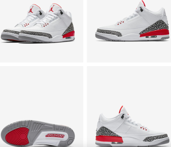 Air Jordan Retro 3 Katrina White Red Cement 136064 116  Size 4Y-14 100%Authentic