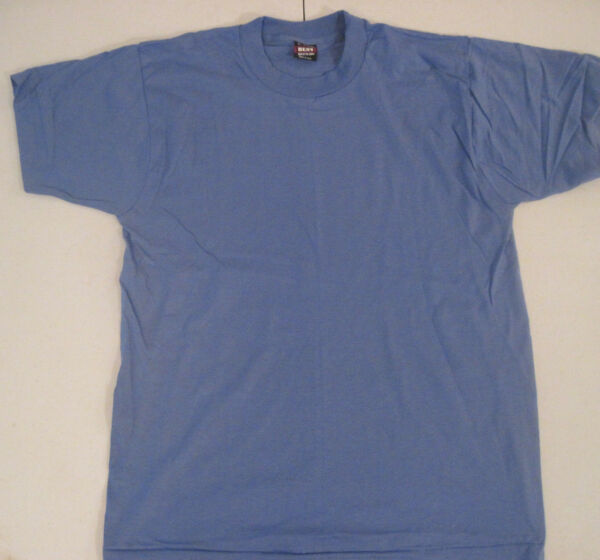 Vintage Fruit Of The Loom Best T-Shirt Blank Size Large Blue Made in USA 5050