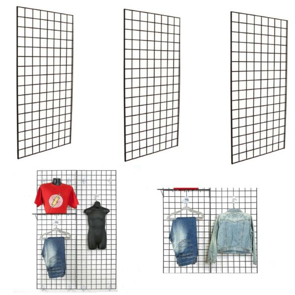 Display Grid Rack 3 Pack 6 ft Panel Retail Metal Stand Wall Store Art Organizer