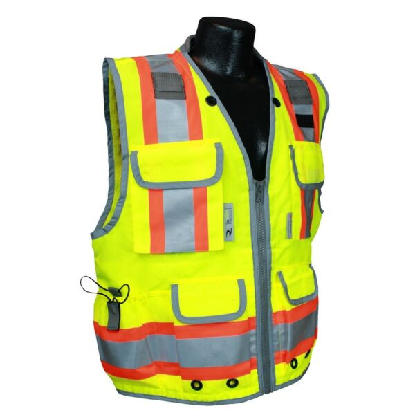 Radians Class 2 Heavy Duty Engineer Safety Vest with Pockets YellowLime