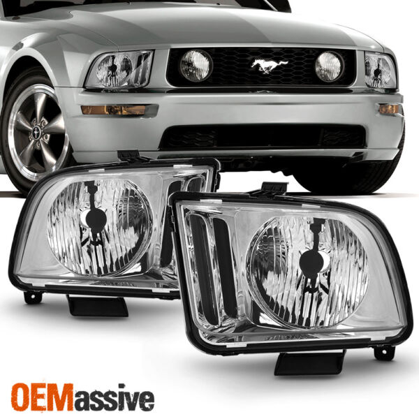 Fit 2005 2006 2007 2008 2009 Ford Mustang Clear Headlights Pair Lamps Left+Right