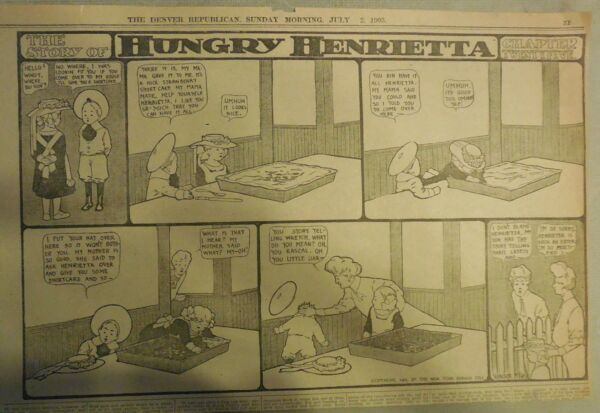 Hungry Henrietta by Winsor McCay from 7/2/1905! Half Page Size! 11 x 15 inches