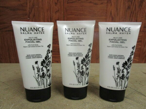 2 NUANCE SALMA HAYEK WILD LIME EXFOLIATING FACIAL GEL W GREEN TEA