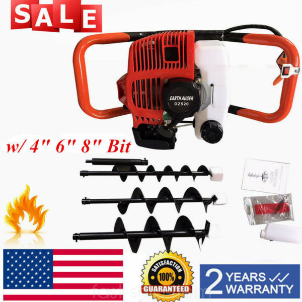 52CC GAS POWERED Earth Auger Post Fence Hole Digger with 3Bits+ Extension Bar US
