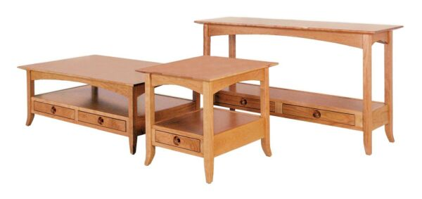 Amish Shaker Occasional Accent Tables Square Coffee End Sofa Wood Set of (3)