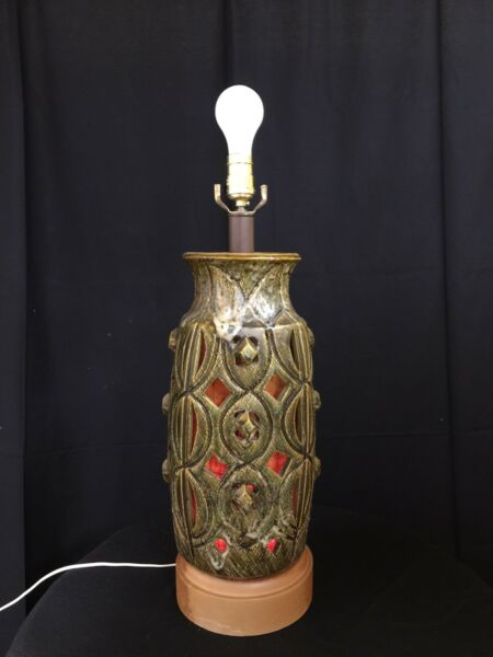 Mid Century Modern Brutalist Lava Glaze Ceramic Incised Table Lamp Light