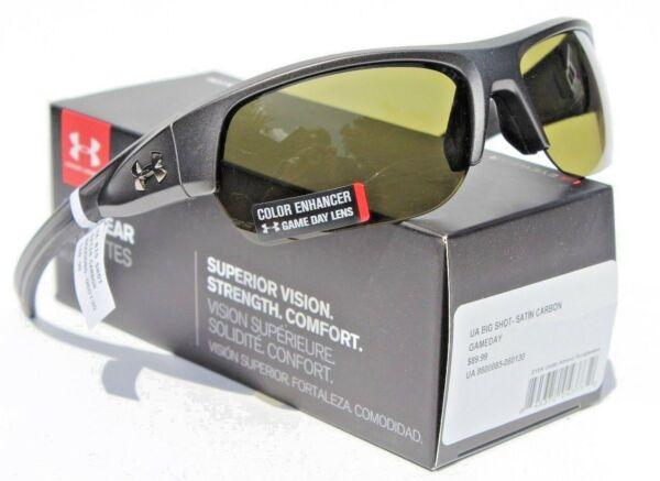 UNDER ARMOUR Big Shot Sunglasses Satin Carbon Game Day NEW Sport Cycle $90 $59.95