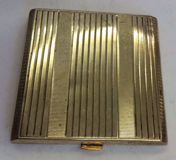 Vintage Art Deco Solid Silver Hallmarked Compact 1944 Rose Gold Button