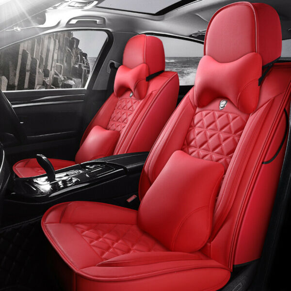 US Stock Microfiber Leather Car Seat Cover 5-Seats Front+Rear Cushion All Season