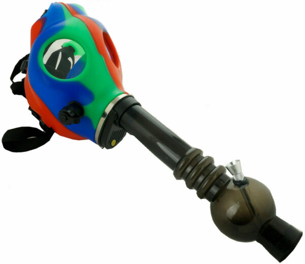 Silicon Gas Mask Bong Hookah Smoking Red Blue Green Mix Color Mask w Gift Box
