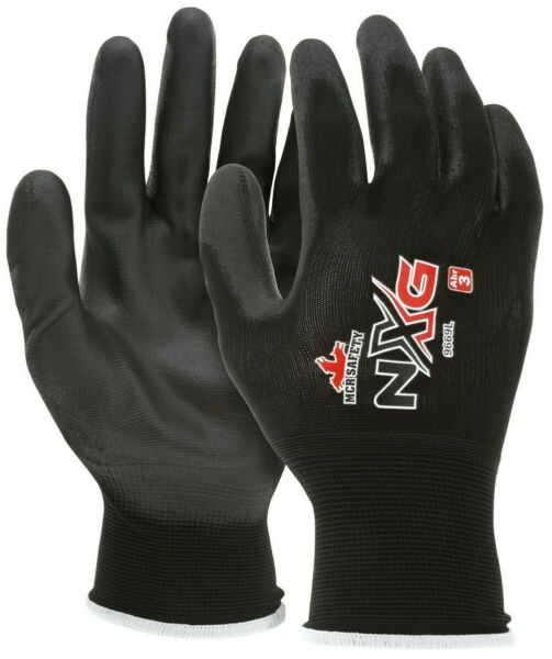 (12 Pairs) MCR Safety Polyurethane Coated Nylon Work Gloves
