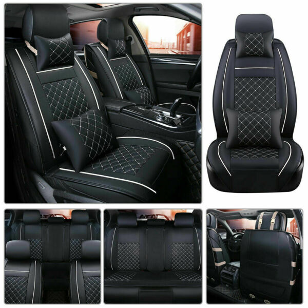 From US Car Seat Cover Size L PU Leather 5-Seats Front & Rear Cushion W/pillows