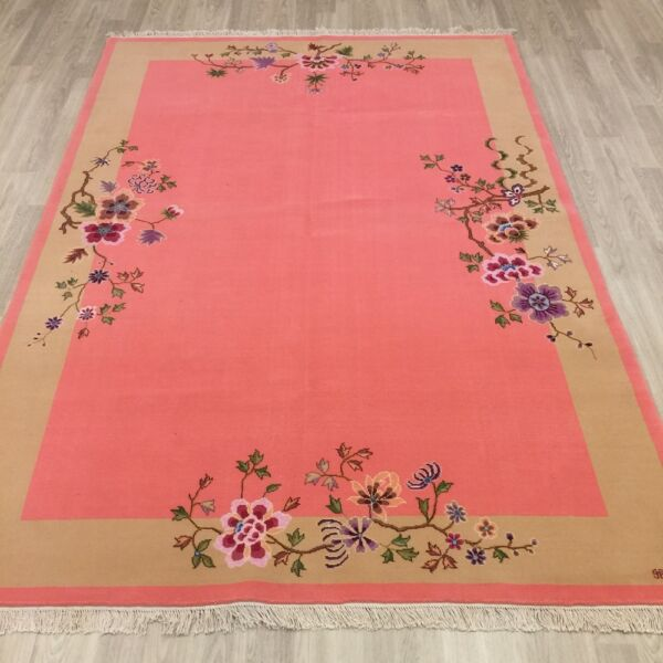 YILONG 5.5'x8' Unique Pink HandKnotted Wool Carpet Art Deco Floral Hearth Rug