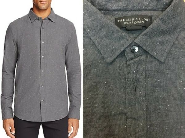$98 Bloomingdales The Mens Store Grey Neptune Regular Fit Woven Button Down L