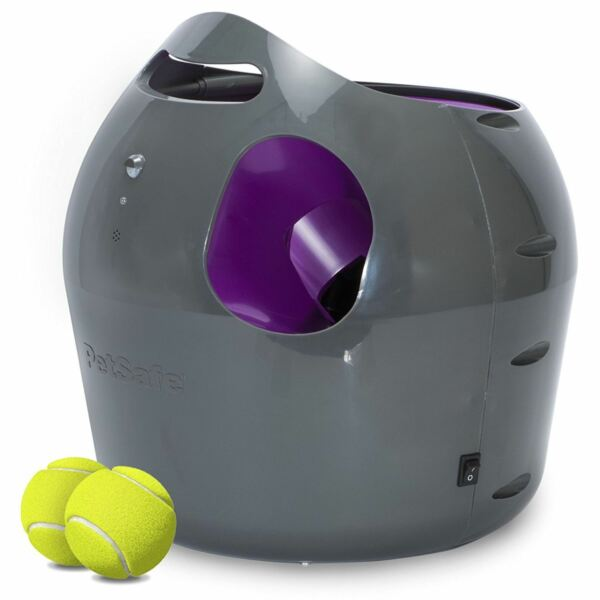 PetSafe Automatic Tennis Ball Launcher Thrower Dog IndoorOutdoor Toy + 2 Balls