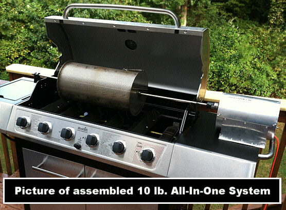 10 Lb Capacity Outdoor Coffee Roaster System Drum-rod-grill-60rpm Motor