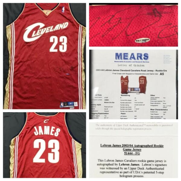 LEBRON JAMES AUTO GAME USED ROOKIE JERSEY 1ST GAME VS KOBE BRYANT STAPLES CENTER