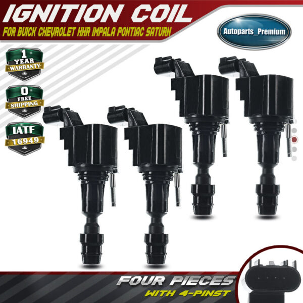 4x Ignition Coil Pack for Buick Chevrolet GM Pontiac Saab Saturn Fisker 2005-17