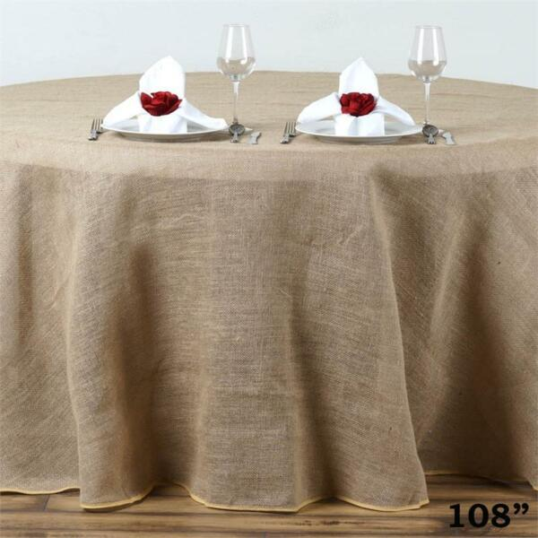 108quot; Natural BURLAP ROUND TABLECLOTH Wedding Party Catering Reception Linens