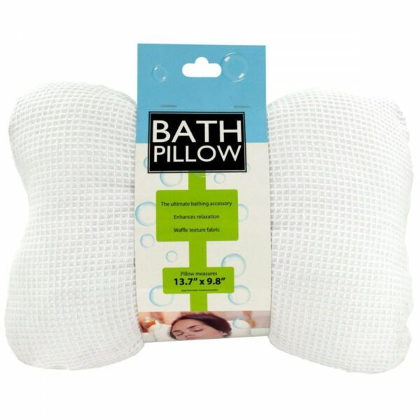 Deluxe Soft Cloth Bath Tub Pillow with Suction Cups for Comfort Neck