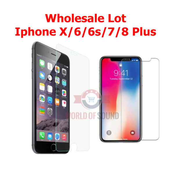20x Wholesale Lot Tempered Glass Screen Protector for Apple iPhone X 8 6s 7 Plus