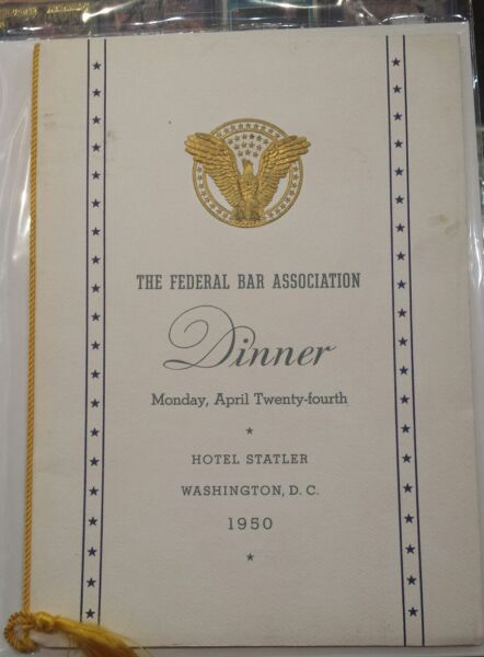 The Federal Bar Association dinner itinerary for hotel Statler 1950
