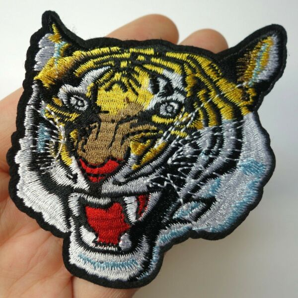 Tiger Head Roaring Patch Iron-OnSew-On Embroidered Applique Biker