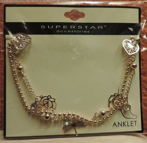 Gold Tone Anklet w/ Charms Rose Heart Dragonfly