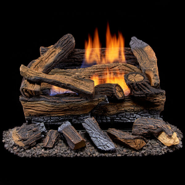 Duluth Forge Ventless Propane Gas Log Set-18 in. Stacked Red Oak Manual Control