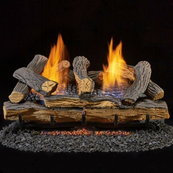 Duluth Forge Ventless Natural Gas Log Set 24 in. Split Red Oak Manual Control $249.99