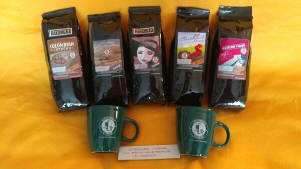 Cheshire Coffee Beans Lot 7 On Line Half Price with Mugs Great Package Deal New
