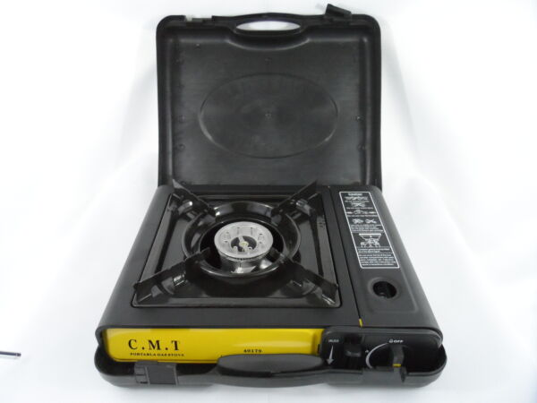 New Portable Single Burner Butane Gas Camping Stove w Hard Case Tabletop Stove