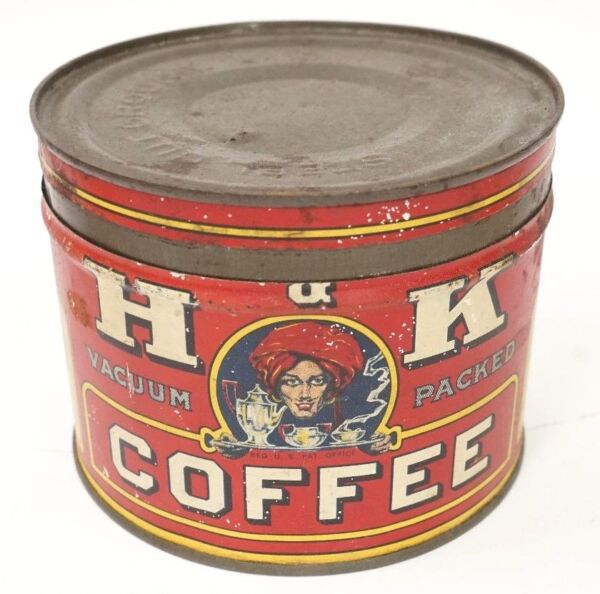Vintage 1930#x27;s H amp; K Coffee Tin Advertising Collectible