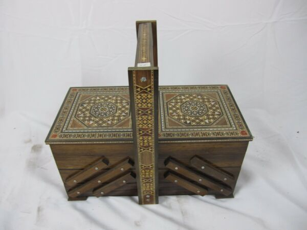 Vintage syrian LARGE Wooden  Accordion Fold Out 3 Tier Sewing Chest Box mosaice