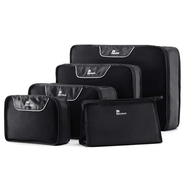 Nacuwa 5Pcs Packing Cubes Travel Clothes Storage Luggage Organizers Bags Pouch