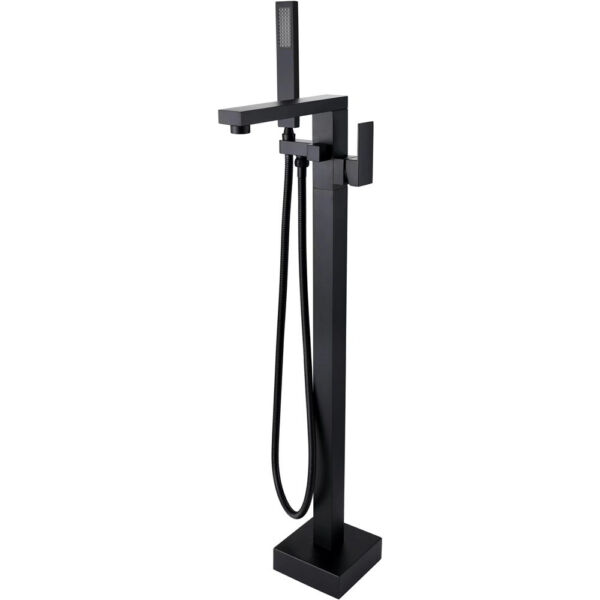 Rolya Square Style Matte Black Free Standing Bathtub Faucets Bath Filler Taps