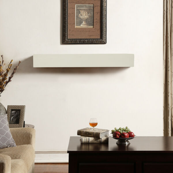 Duluth Forge 48-Inch Fireplace Shelf Mantel With Corbels - Antique White Finish