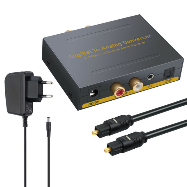 Digital Optical Coaxial Toslink to Analog RCA LR Audio Converter Adapter+Cable