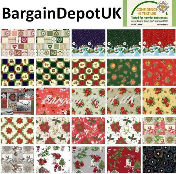 Christmas PVC Tablecloth Vinyl Wipe Clean Oilcloth Premium Quality  ALL SIZES