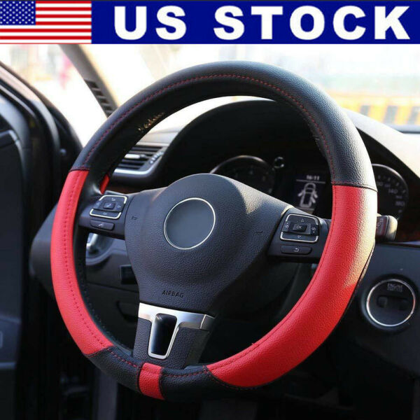 15'' Auto Car Truck Microfiber Leather Steering Wheel Cover Protector Black+Red