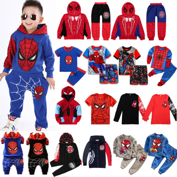 Spiderman Kids Toddler Boy Tracksuit Hoodie Joggers Sweatshirt Clothes Outfit