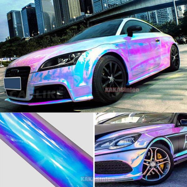 White - Glossy Rainbow Magic Mirror Chameleon Chrome Car Vinyl Wrap Film Sticker