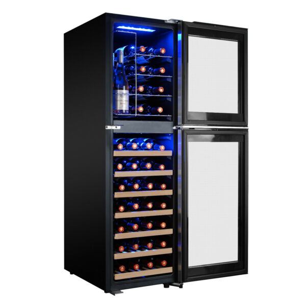 44-Bottle Touch Panel Dual Zone Wood Shelf Freestanding Compressor Wine Cooler